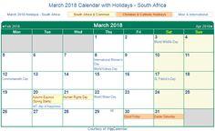 South Africa 2018 March Holidays Calendar