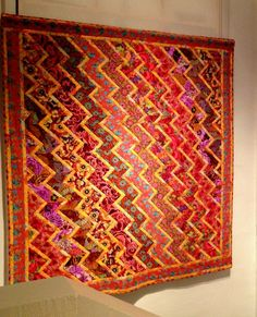 Kaffe Fassett streaks of lightning quilt, photo by Heike Gittins at made with loops (North Wales, UK).  June 2013 Kaffe Fassett exhibit at the Welsh Quilt Centre