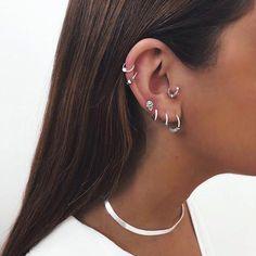 Opal colors Double piercing Earrings, Double Ear Cuff Earrings, Non piercing - Custom Jewelry Ideas Tragus Piercings, Percing Tragus, Piercing Snug, Piercing Conch, Ear Piercings Chart, Pretty Ear Piercings, Piercing Chart, Ear Peircings, Cartilage Earrings
