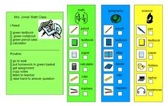 Classroom organization visuals  I'm thinking this would be great for some of my students with poor organization skills.