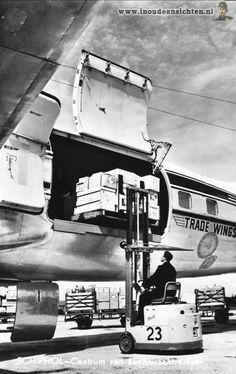 KLM Cargo history: KLM Douglas DC-6 Liftmaster freighter - postcard