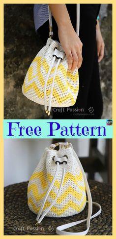 Crochet Raffia Bucket Bag – Free Pattern #freecrochetpatterns #crochetbag #bag