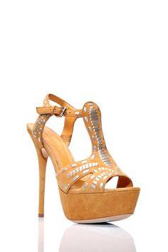 "Sexy....  Eric Rutberg Transparent Aztec Platform Sandal  - Open toe  - T-strap vamp  - Buckle side ankle closure  - Top stitch detail  - Approx. 5"" heel, 1.5"" platform"