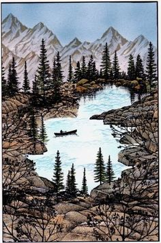 Canoeing on the mtn stream by Karen Wallace - Cards and Paper Crafts at Splitcoaststampers Karen makes great cards & is a great person too.  Thanks for your help over the years!