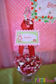 Vintage Strawberry Shortcake Birthday -- Pink, Red, and White M Jar