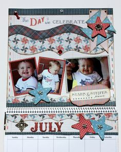 July Calendar designed by Debbie Budge  ⊱✿-✿⊰ Join 750 people and follow the Scrapbook Pages board for Scrapping inspiration ⊱✿-✿⊰
