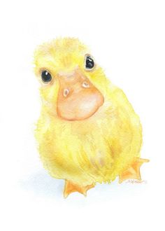 Baby Duckling watercolor giclée reproduction. Portrait/vertical orientation. Printed on fine art paper using archival pigment inks. This quality printing allows