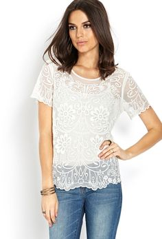 45c9f2653273f Dainty Mesh Embroidered Top from FOREVER 21 on shop.CatalogSpree.com