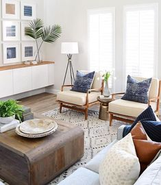 modern boho meets farmhouse living room design