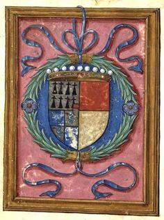 """Ecu écartelé de Bretagne, d'Orléans, de Milan et d'Astarac (BNF Ms 522, f°1v) -- """"La coche ou Débat d'Amour"""" par Marguerite d'Angoulême, reine de Navarre (1492-1549), illustré par le Maître de François de Rohan, 1542, France"""