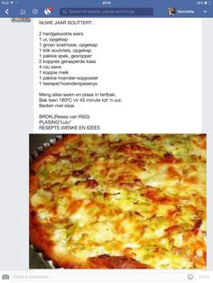 Nuwe Jaar Souttert #africanrecipe Quiche Recipes, Tart Recipes, Paleo Recipes, Cooking Recipes, Pastry Recipes, Kos, Hot Dog Recipes, Chicken Recipes, South African Recipes