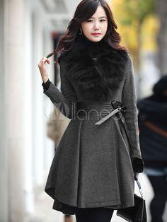 Gray Terylene Wool Fox Fur Collar Womens Pea Coats - Milanoo.com