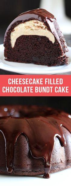 Cheesecake Filled Chocolate Bundt Cake ~ rich yet tender chocolate cake, surprise cheesecake filling, and thick fudgy glaze! #cheesecake #chocolate #bundtcake #cake #dessert #recipe #food #dessertrecipes