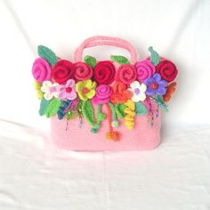Crochet Flower Bag Pattern Tutorial pdf Crochet Felted by GraceG2