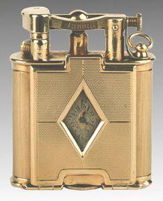Cool Lighters, Cigar Lighters, Vintage Cigarette Case, Art Deco Watch, Le Smoking, Lighter Case, Mantel Clocks, Old Flame, Smoking Accessories