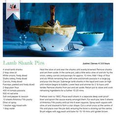 Recipe for Lamb Shank Pies Lamb Shank Recipe, Lamb Shanks, Recipe Cards, Gourmet Recipes, Party Ideas, Meals, Dinner, Tableware, Dining