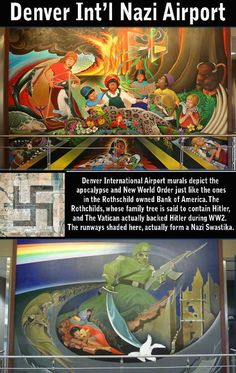 NWO mural @ the Denver International Airport. They'll blow your mind and disgust you.a Nazi General killing a dove? Not going to that airport. They can explain this crap anyway they want. Creepy, Scary, Denver Airport, Out Of Touch, Bank Of America, Conspiracy Theories, International Airport
