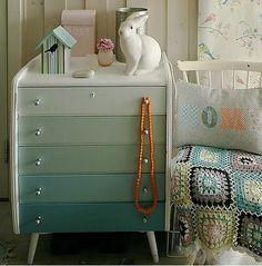 gradient paint on dresser for nursery built ins