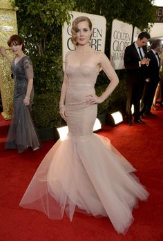 Amy Adams in Marchesa on the Golden Globes 2013 red carpet.