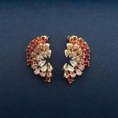 Pink and White crystal stud earrings for women and girls. Crystal earrings tops with 18K Yellow Gold plating. Glamorous and sparkling beautiful earrings for party wear and special occasions. Gold Plated Earrings, Crystal Earrings, Statement Earrings, Women's Earrings, Buy Crystals, Girls Earrings, Western Outfits, Austrian Crystal, Gold Plating