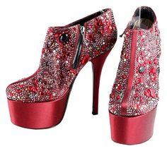 5a5ab9d9d0bb GB1025710K Dolce  amp  Gabbana Red Jeweled Embellished Platform Ankle…  Satin Shoes