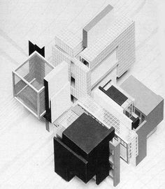"""Peter Eisenman discusses the end of self-consciously """"classical"""" architecture and the production of a new architectural method. Paper Architecture, Architecture Graphics, Architecture Drawings, Architecture Design, Peter Eisenmann, Home Design, Casa Kaufmann, Axonometric Drawing, 3d Modelle"""