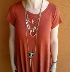 Make a statement with your jewelry & take your outfit to the next level with these awesome necklaces! #AccessoriesAreAGirlsBestFriend #PlatosTucson #SoManyChoices #AccessoryQueen | www.platosclosettucson.com