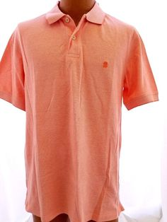 IZOD Mens Size L Short-Sleeve Newport Oxford Solid Pique Polo Shirt Persimmon #IZOD #PoloRugby