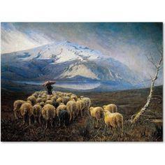 Trademark Fine Art Mountain Landscape with Rain Canvas Art by Achilles Tominetti, Size: 18 x 24, Multicolor
