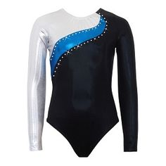 Black mystique leotard with one deep pink mystique shoulder and sleeve. Appliques are made of gunmetal and deep pink mystique (front only) and neck trim is made of gunmetal mystique. Rhinestones are clear Korean crystals (Swarovski available on request fo