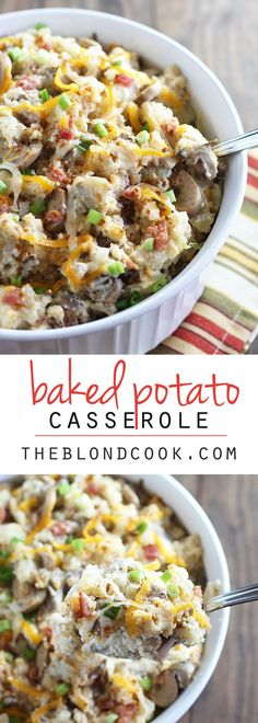 Baked Potato Casserole - All the baked potato fixings you love in a casserole!