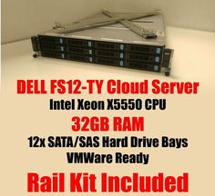 DELL FS12-TY Intel cloud storage server 32GB X5550, Rails, VMWare Ready