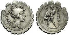 Rome 80 bc denarius.  Hercules and the Nemean lion.  Poblicius is likely claiming kinship to Hercules as his family claim to fame.