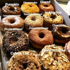 from Dough Doughnuts – This Holiday Season don't forget your Dough D… - Donut recipes Fancy Donuts, Cute Donuts, Donuts Donuts, Donut Flavors, Donut Recipes, Delicious Donuts, Delicious Desserts, Doughnut Shop, Bread Shop