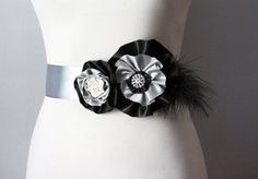 Bridal Satin Flower Feather Sash Belt  Wedding Dress by NAFEstudio
