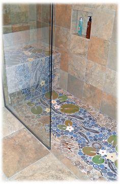 waterfall trout stream decorative handmade custom ceramic tile shower tiles