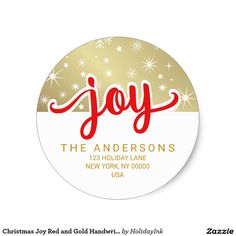 Christmas Joy Red and Gold Handwritten Address
