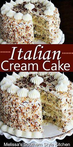 Birthday Desserts, Fun Desserts, Delicious Desserts, Easy Italian Desserts, Health Desserts, Italian Cream Cakes, Italian Cake, Best Italian Cream Cake Recipe, Baking Recipes
