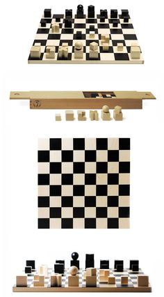 Naef Bauhaus Complete Chess Set with Chessmen and Chessboard