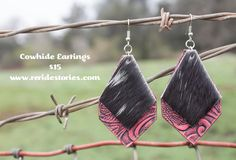 A personal favorite from my Etsy shop https://www.etsy.com/listing/270861423/leather-cowhide-earrings-pink