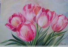 Pink Tulips by Dorimar Carvalho Moraes♥🌸♥    pinturas de tulipan -  Buscar con Google