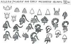 Aegean-Minoan and early Achaean helmets, 5000-1500 BC Based on pottery, fresco, sculpture representations and partial findings.