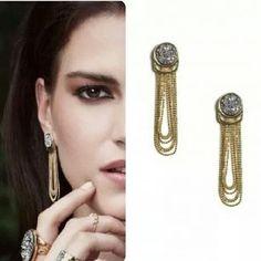 www.sophiejuliete.com.br/estilista/nandabordon Semijoia brinco vivi ouro drusa luxo exclusividade brilho moda acessórios