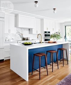 """360 Likes, 10 Comments - Style at Home (@styleathome) on Instagram: """"To offset the cost of the luxe marble slab backsplash, the island's waterfall countertop was made…"""""""