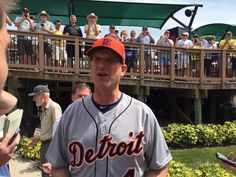 Jim Harbaugh continues to have more fun than any other college football coach. First base coach for a Detroit Tigers pre season game 3/2/2016