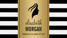 Chic Silhouette Woman Face Gold Black and White Stripes Business Cards