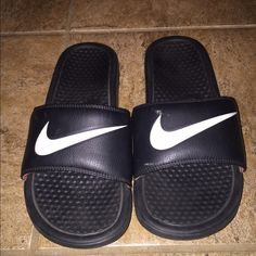 Nike sliders Black white and red Nike slide on slippers Nike Shoes Athletic Shoes