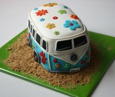 Murray, I'm assigning you a VW Bus cake challenge! You could rock this out! Volkswagen Bus, Vw T1, Sweet Cakes, Cute Cakes, Beautiful Cakes, Amazing Cakes, Fondant Cakes, Cupcake Cakes, Hippie Cake
