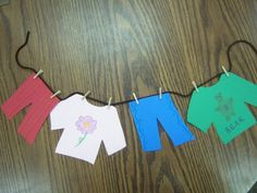 """This storytime post got lost in my queue — this was weeks and weeks ago at this point! I started off storytime with """"Ella Sarah Gets Dressed"""" by Margaret Chodos-Irvine. Art Activities For Toddlers, Preschool Arts And Crafts, K Crafts, Animal Crafts For Kids, Preschool Themes, Toddler Crafts, Preschool Letters, Reuse Old Clothes, Old Baby Clothes"""