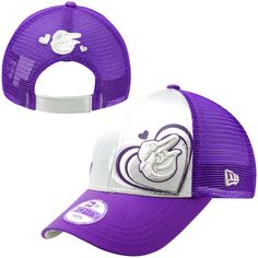 New Era Baltimore Orioles Youth Girls 9FORTY Satin Shimmer Adjustable Hat - Silver/Purple - $13.29